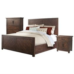 Picket House Furnishings Dex 3 Piece Platform Storage Bedroom Set in Walnut