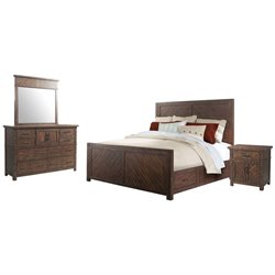 Picket House Furnishings Dex 4 Piece Platform Storage Bedroom Set in Walnut