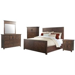 Picket House Furnishings Dex 5 Piece Platform Storage Bedroom Set in Walnut