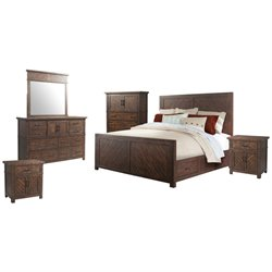Picket House Furnishings Dex 6 Piece Platform Storage Bedroom Set in Walnut