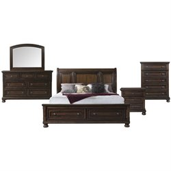 Picket House Furnishings Kingsley 5 Piece Storage Bedroom Set in Walnut