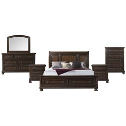Picket House Furnishings Kingsley 6 Piece Storage Bedroom Set in Walnut