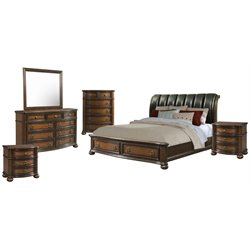 Picket House Furnishings Pentos 6 Piece Storage Bedroom Set in Chestnut
