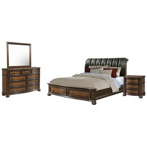 Picket House Furnishings Pentos 4 Piece Storage Bedroom Set in Chestnut