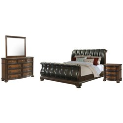Picket House Furnishings Pentos 4 Piece Sleigh Bedroom Set in Chestnut