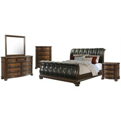 Picket House Furnishings Pentos 5 Piece Sleigh Bedroom Set in Chestnut
