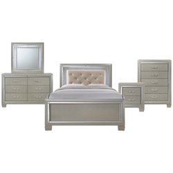 Picket House Furnishings Glamour Youth 5 Piece Platform Bedroom Set in Champagne