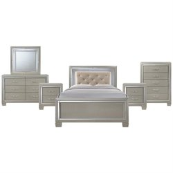 Picket House Furnishings Glamour Youth 6 Piece Platform Bedroom Set in Champagne
