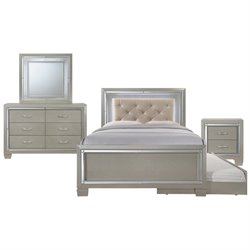 Picket House Furnishings Glamour Youth 5 Piece Platform Trundle Bedroom Set in Champagne