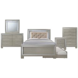 Picket House Furnishings Glamour Youth 6 Piece Platform Trundle Bedroom Set in Champagne