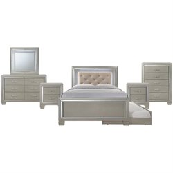 Picket House Furnishings Glamour Youth 7 Piece Platform Trundle Bedroom Set in Champagne