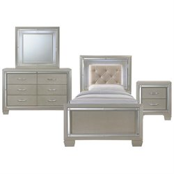 Picket House Furnishings Glamour Youth 4 Piece Platform Bedroom Set in Champagne