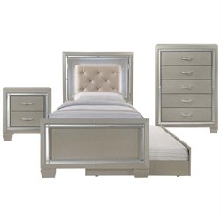 Picket House Furnishings Glamour Youth 4 Piece Platform Trundle Bedroom Set in Champagne
