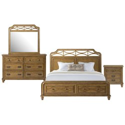 Picket House Furnishings Mysteria Bay 4 Piece Storage Bedroom Set in Honey