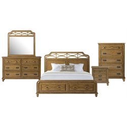 Picket House Furnishings Mysteria Bay 5 Piece Storage Bedroom Set in Honey