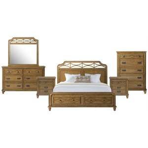 Picket House Furnishings Mysteria Bay 6 Piece Storage Bedroom Set in Honey