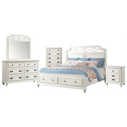 Picket House Furnishings Mysteria Bay 5 Piece Storage Bedroom Set in White