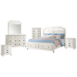 Picket House Furnishings Mysteria Bay 6 Piece Storage Bedroom Set in White