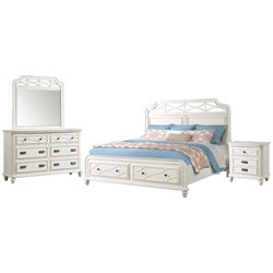 Picket House Furnishings Mysteria Bay 4 Piece Storage Bedroom Set in White