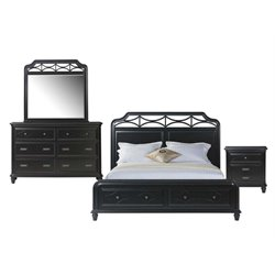 Picket House Furnishings Mysteria Bay 4 Piece Storage Bedroom Set in Black