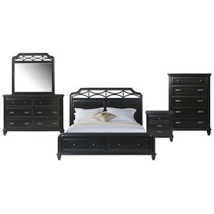 Picket House Furnishings Mysteria Bay 5 Piece Storage Bedroom Set in Black