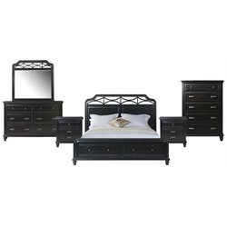 Picket House Furnishings Mysteria Bay 6 Piece Storage Bedroom Set in Black
