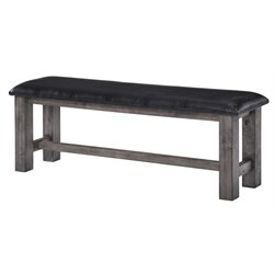 Picket House Furnishings Grayson Faux Leather Dining Bench in Gray Oak