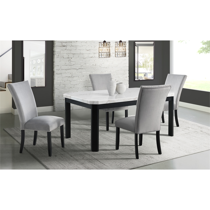 Picket House Celine White Marble 5PC Standard Dining Set with Gray Chairs