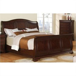 Elements Cameron Sleigh Bed in Cherry - Queen