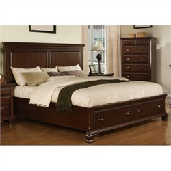 Elements Canton Storage Bed in Deep Cherry - Queen