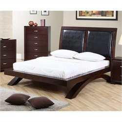 Elements Raven Bed with PU Headboard in Espresso - Queen