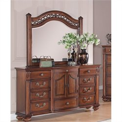 Elements Barkley Square Dresser and Mirror in Warm Pine