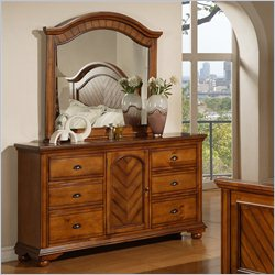 Elements Brook Dresser and Mirror in Warm Chestnut