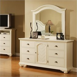 Elements Brook Dresser and Mirror in Cottage White
