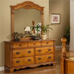 Elements Bryant Dresser and Mirror in Warm Pine