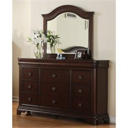 Elements Cameron Dresser and Mirror in Traditional Cherry