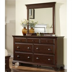 Elements Canton Dresser and Mirror in Deep Cherry