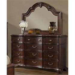 Elements Tabasco Dresser and Mirror in Rich Cherry