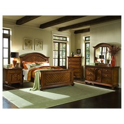 Elements Brook 5 Piece Bedroom Set in Warm Chestnut