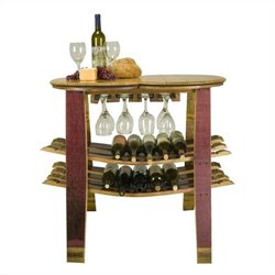 Napa East Collection Barrel Head Table and Rack with Glass Sliders