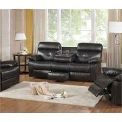 Primo International Parisian Rouquette Leather Reclining Sofa in Brown