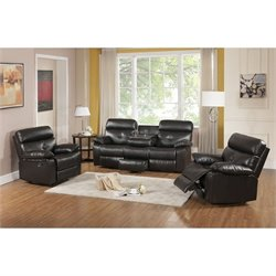 Primo International Parisian Rouquette 3 Piece Sofa Set in Brown
