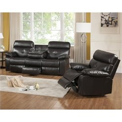 Primo International Parisian Rouquette 2 Piece Sofa Set in Brown