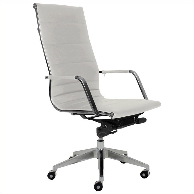 Sofia High Back Office Chair In White W Casters 5335