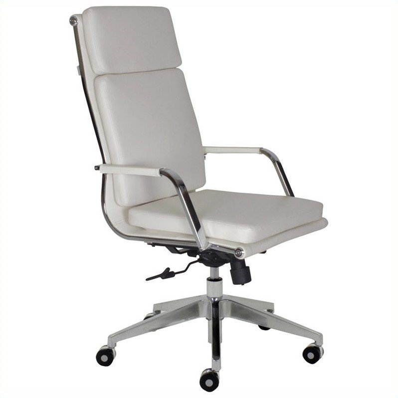Greta High Back Office Chair In White W Casters 5343