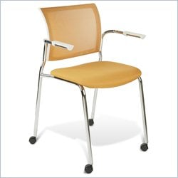 Jesper Office Jenna Guest Chair in White and Orange w Casters