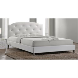 Baxton Studio Canterbury Upholstered Queen Platform Bed in White