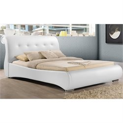 Baxton Studio Pergamena Upholstered Queen Sleigh Bed in White