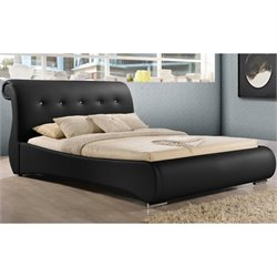 Baxton Studio Pergamena Upholstered Queen Sleigh Bed in Black