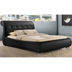 Baxton Studio Pergamena Upholstered King Sleigh Bed in Black